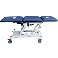 Robust-3-section-examination-couch-with-electric-powered-adjustable-backrest,-footrest-and-high-low-functions.